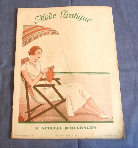 Vintage French Magazine Mode Pratique June 1932 Fashion Sewing and Knitting