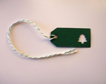 Festive forest green small Christmas tree gift tags set pre-strung with bakers twine
