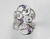 Swirl Ring Amethyst - Gemstone Spiral Ring - Sterling Silver Amethyst Waves - Unique Mother's Ring - Silver Swirl - Birthstone Ring