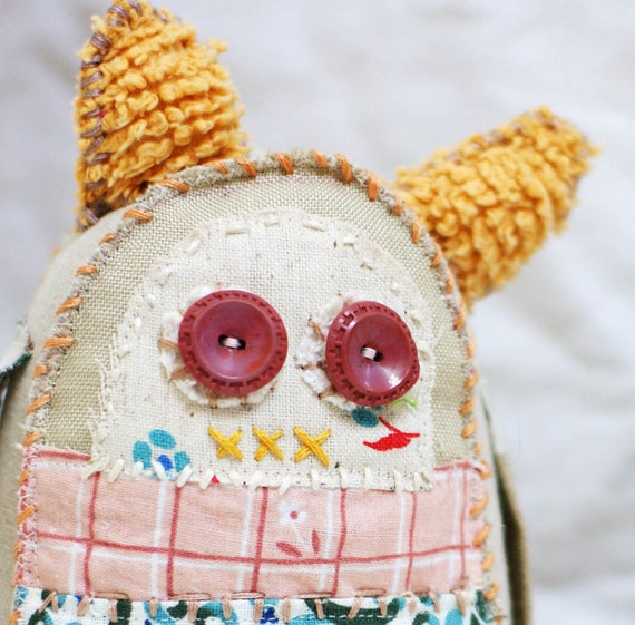 Sonnet - a primitive softie vintage fabric keepsake - buttercup yellow and one of a kind soft sculpture rag doll