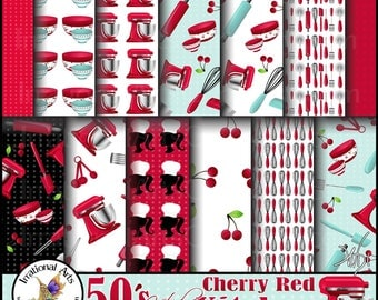 50's Kitsch Cherry Red Kitchen set 1 - 15 Digital Papers bowl wisk rolling pin pizza cutter spatula teaspoons peeler [INSTANT DOWNLOAD]