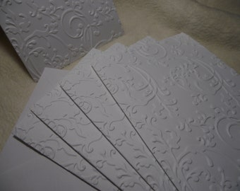 Christmas Cards...5 Sets of Very Beautiful and Elegant Sugar Plum Embossed Note Cards and Envelopes