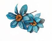 Teal Flower Hair Pins (2) -- Peacock Blue Gold Flower Hair Bobby Pin - Wedding Hair Accessory