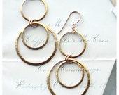 Hammered Hoop Brass Dangle Earrings