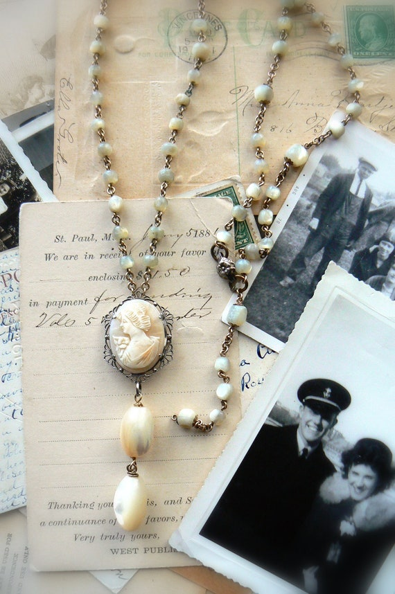 Vintage Italian Shell Cameo and Antique MOP Rosary Necklace