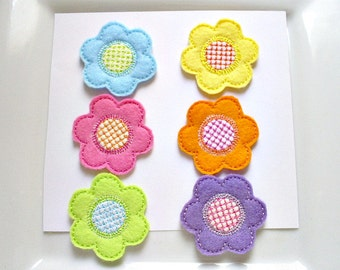 Felt Embroidered Appliques, Set of 6 Colorful Flower Appliques,  Machine Embroided