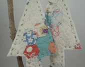 Vintage Quilt Ornaments Upcycled Christmas Tree Hanging Decoration Repurposed Handstitched