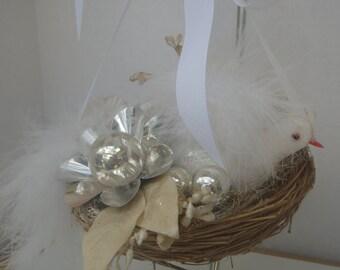 White Feather Birds Nest Hanging Decoration Vintage Treasures