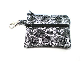 Small Zippered Wallet Change Purse Gadget Case Black and White Snake Skin
