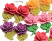 10pc stemmed rose bud resin flower cabochons / 17x10mm / adorable for stud earrings / choose your colors