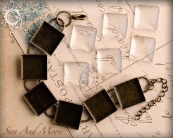 5 Square Bracelet Blanks with Glass - Choose Your Color- Shiny Silver, Antique Bronze, Copper, or Gunmetal Bezels with Chain and Clasp