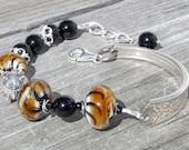 Lampwork Bead Sterling Silver Jasper Vintage Spoon Link Bracelet