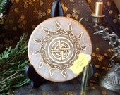 Ready to Ship Yule Altar Tile Celtic Sun Wheel