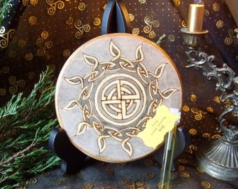 Made to Order Yule Altar Tile Celtic Sun Wheel