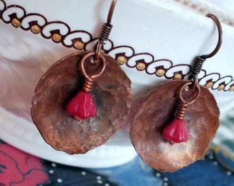 Copper Bells - Copper Disc and Red Czech Bellflower Earrings
