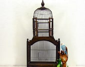 Vintage Victorian Dome style birdcage Wire Wood 2 spring doors 3 feet tall Pet Bird Cage