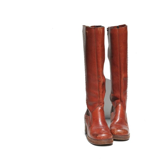 Orange Brown Leather Tall Boots size: 6