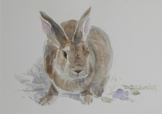 """Rabbit Watercolor Painting in 8 X 10 Mat """"Miss Violet Bunny"""""""