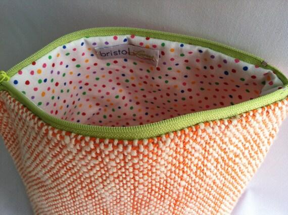 Woven Bag Orange Cotton with Polka Dots