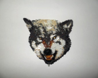 Brick Stitch Snarling Timber/Gray Wolf Delica Seed Beading PDF E-File Pendant Pattern-299