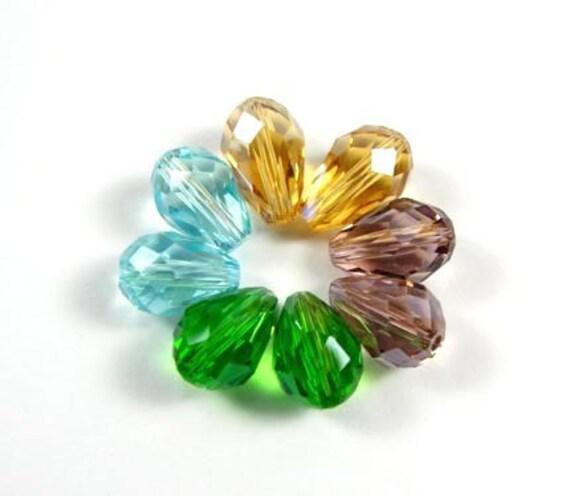 MULTI COLOR QUARTZ  Glass Faceted Teardrop Briolettes Beads,  8x11mm,  8