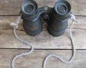 vintage c. 1950s STELLAR metal field glasses // binoculars with yarn strap