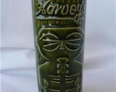 Vintage TIKI MUG Lake Tahoe Casino HAWAIIAN Cocktail Glass Green Harvey's Sneaky Tiki