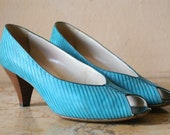 Teal On Teal Striped Leather and Suede Open Toe Pumps 8