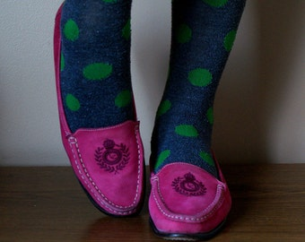 Hot Pink Embroidered Crest Liz Claibourne Loafers 8