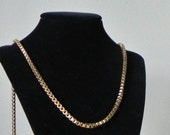 Vintage long gold chunky necklace chain links by Monet belcher chain