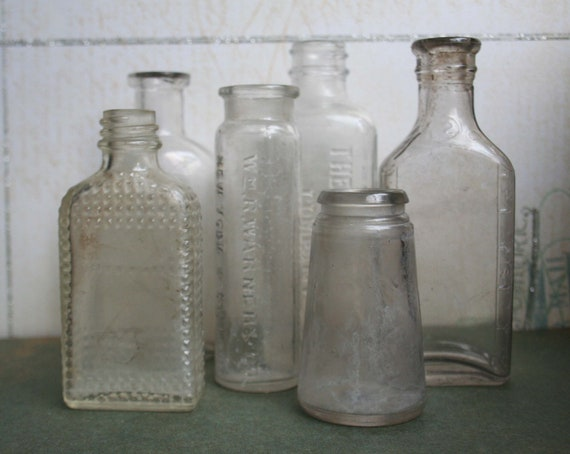 clear glass vintage bottle collection small set of 6