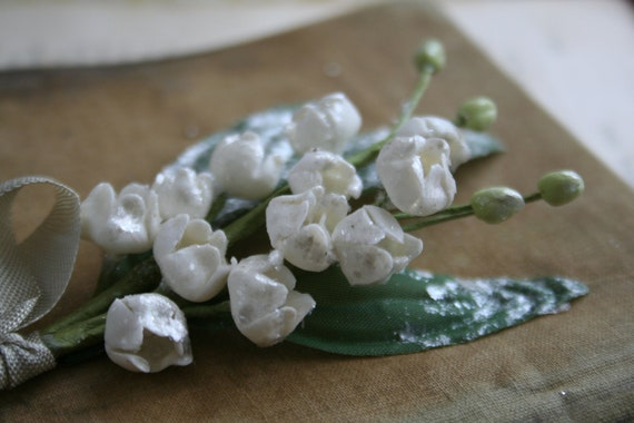 Reserved for Abbie...lily of the valley millinery blossom bouquet