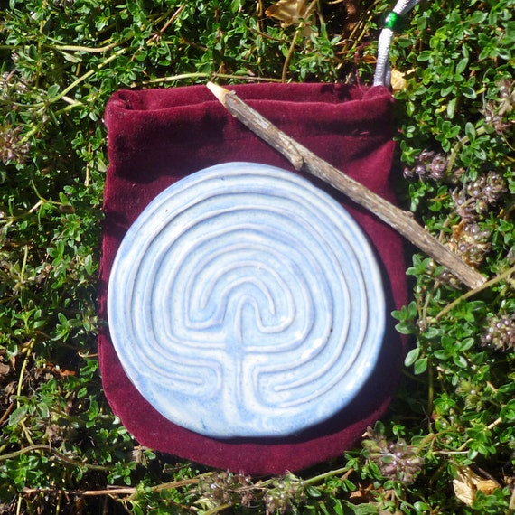 Classical Tracing Labyrinth with velvet sack and tracing stick-Lavender Blue