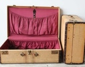 r e s e r v e d Pair of Matching Antique Hard-Sided Suitcases