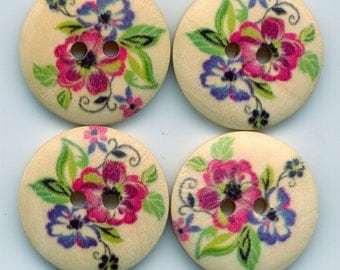 Pansy Buttons Decorated Wooden Buttons 23mm (1 inch) Set of 8 /BT23