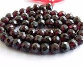 Garnet Gemstone Rondelle Dark Maroon Faceted 7mm 1/2 Strand 25 beads