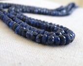 Kyanite Rondelle Gemstone Faceted Dark Navy Blue 5mm 12 beads