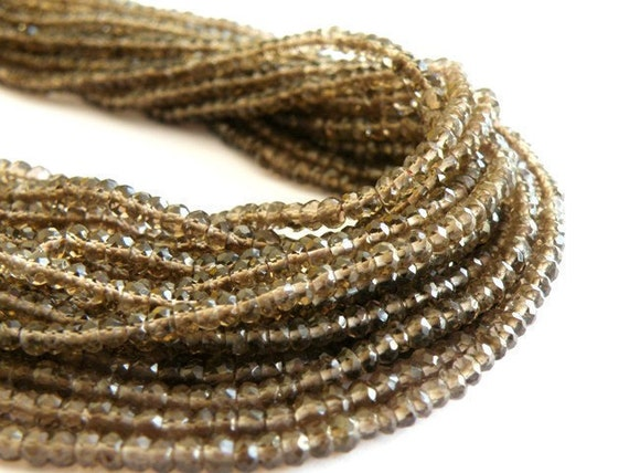 Smoky Quartz Gemstone Briolette AAA Chocolate Brown Micro Faceted Israeli Cut Rondelle 3.5mm 1/2 Strand 70 beads