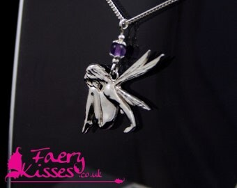Sterling Silver Fairy Necklace - Damselfly with Amethyst - Exclusively designed by Faery Kisses