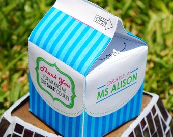 DIGITAL Teacher Appreciation Gift - Milk Carton for Milk and Cookies or Treats - Perfect for end of year gifts
