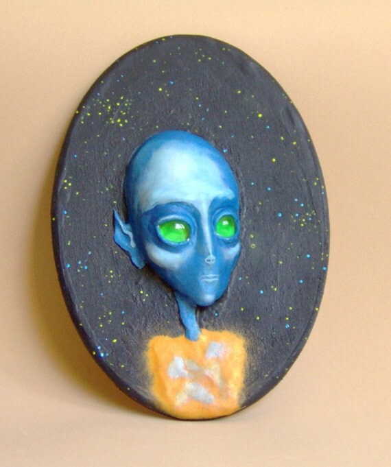 Blue Alien Sculpture Face Visionary Art