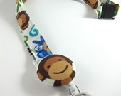 Fabric Lanyard with Retractable Badge Reel - ID Badge Holder - Monkeys