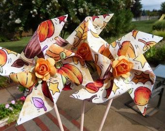 Fall Pinwheel Cupcake Flags - 12 Fabric Fall  Cake Toppers