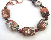 Earthy Brown Bracelet Multi Color Gemstones & Copper