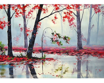 PINK TREES PAINTING spring blossom river landscape by  Graham Gercken