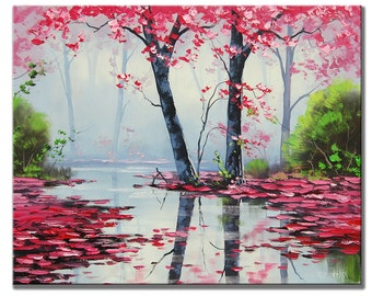 MISTY PAINTING trees river impressionist landscape original art oil by Graham gercken