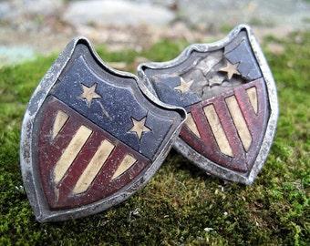 Antique Car Badges - Flag, Shield, Medallions