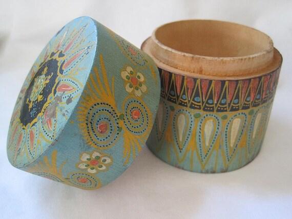 Vintage Painted Wood Box - Poland Folk Art