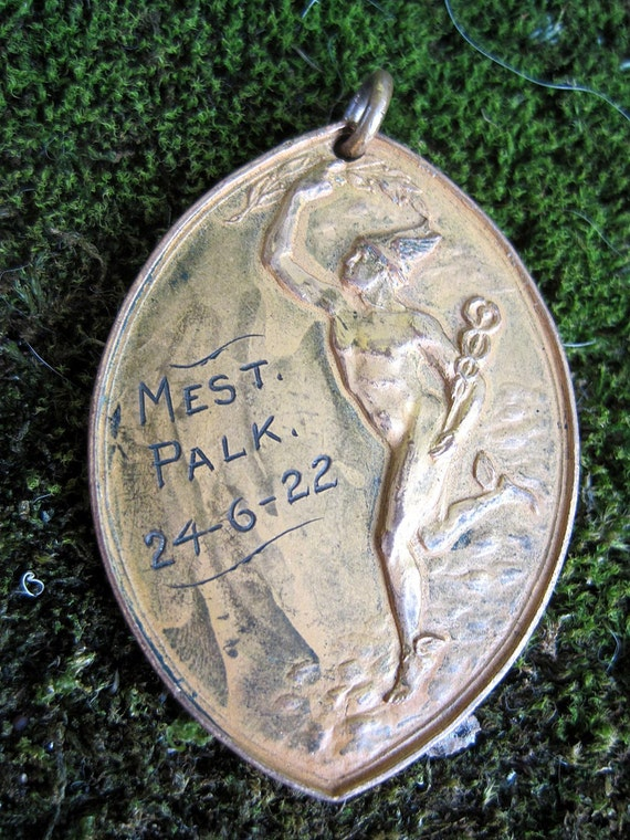 RESERVED 1920s Gold Medal Pendant