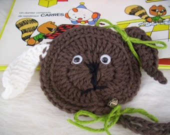 Books,children's books,crochet bookmark,crochet puppy,brown puppy,